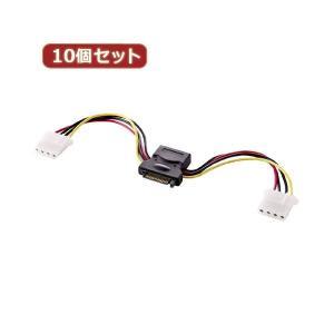 【商品名】 10個セット サンワサプライ 2股電源ケーブル(10cm) TK-PWSATA4-01X...