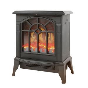 【商品名】 暖炉型 ファンヒーター/暖房器具 【ブラック】 幅36.5cm 速暖タイプ 温度過上昇防...