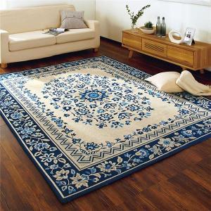 【商品名】 モダン ラグマット/絨毯 【約190cm×240cm ブルー】 長方形 防滑加工 ホット...