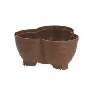 (まとめ) 連結鉢/タワーポット 〔〕 チョコブラウンプラスチック製 植木鉢 ガーデニング用品 園芸...
