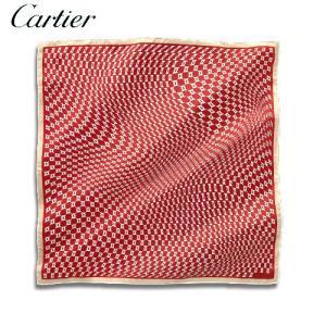 【訳アリ・アウトレット:箱つぶれ】Cartier[カルティエ] カルティエ ロゴ イン モーション モチーフ スカーフ 70 X 70CM RED (T6011510)|windpal