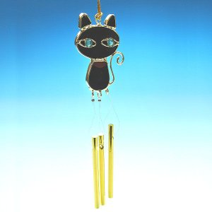 職人さんが一つ一つ手作りで仕上げたハンドメイドによるチャイム 黒猫 cgy26|windpal