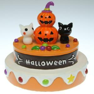 Halloween 手作りガラス細工のハロウィン飾り かぼちゃのケーキ ニャンペア CNLMK03|windpal