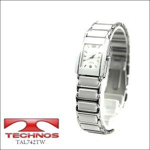 【TECHNOS】テクノス レディースウォッチ 薄型腕時計 ホワイト×シルバー TAL742TW(TAL742TW)|windpal