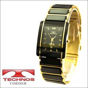 【TECHNOS】テクノス メンズウォッチ 薄型腕時計 ブラック×ゴールド TAM530GB(TAM530GB)|windpal