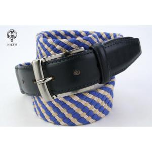 (キース) KIETH コットン×レザーのメッシュベルト メンズ ブルー×ベージュ 牛革使用 windsorknot