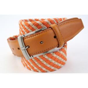 (キース) KIETH コットン×レザーのメッシュベルト メンズ オレンジ×ベージュ 牛革使用 windsorknot