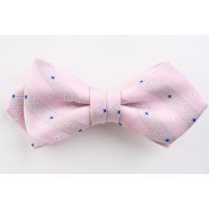 (フェアファクス) FAIRFAX 小紋&織柄ストライプの蝶ネクタイ ピンク系 シルク100% 日本製 バタフライタイ、ボウタイ windsorknot