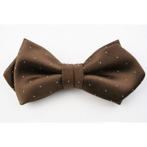 (フェアファクス) FAIRFAX サテン ピンドットの蝶ネクタイ ブラウン シルク100% 日本製 フォーマル 礼装 バタフライタイ、ボウタイ、チョータイ|windsorknot