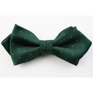 (フェアファクス) FAIRFAX サテン ピンドットの蝶ネクタイ グリーン シルク100% 日本製 フォーマル 礼装 バタフライタイ、ボウタイ、チョータイ windsorknot