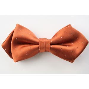 (フェアファクス) FAIRFAX サテン ピンドットの蝶ネクタイ オレンジ シルク100% 日本製 フォーマル 礼装 バタフライタイ、ボウタイ、チョータイ|windsorknot