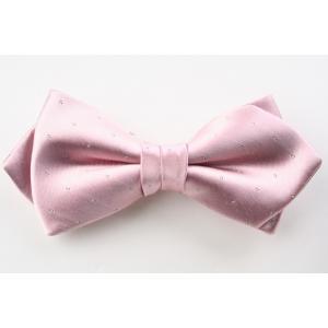 (フェアファクス) FAIRFAX サテン ピンドットの蝶ネクタイ ペールピンク シルク100% 日本製 フォーマル 礼装 バタフライタイ、ボウタイ、チョータイ|windsorknot
