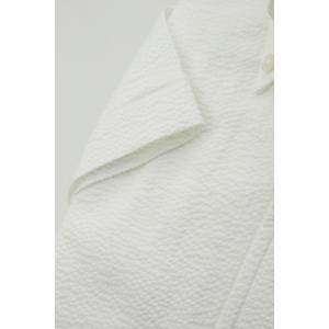 57055d700c2605 ... (フェアファクス) FAIRFAX ワンピースカラーの半袖ボタンダウンシャツ 白無地シアサッカー ...