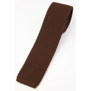 (フランクリンミルズ) FRANKLIN MILLS ウール無地のニットタイ ブラウン 日本製 ネクタイ|windsorknot