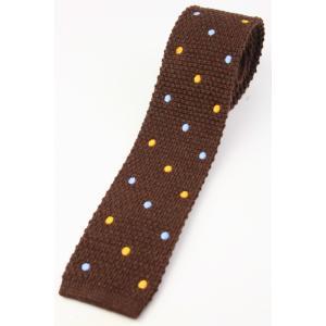 (フランクリンミルズ) FRANKLIN MILLS 2色のドット刺繍のウールニットタイ ブラウン系 日本製 ネクタイ|windsorknot