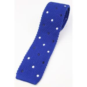 (フランクリンミルズ) FRANKLIN MILLS 2色のドット刺繍のウールニットタイ ブルー系 日本製 ネクタイ|windsorknot