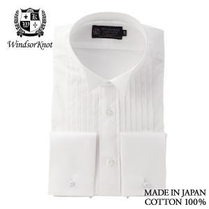 (ウィンザーノットアルバートアベニュー) WindsorknotAlbertAvenueウィングカラードレスシャツ ピンタックダブルカフス 白無地 日本製 綿100%100双ブロード 礼装 windsorknot