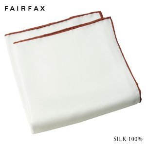 (フェアファクス) FAIRFAX 定番 シルク100%  ポケットチーフ 白無地 赤茶系のパイピン...