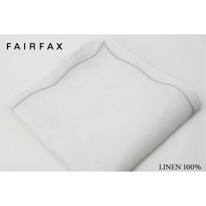 (フェアファクス) FAIRFAX 麻のポケットチーフ ホワイト無地 グレーのウェーブ刺繍 麻100...