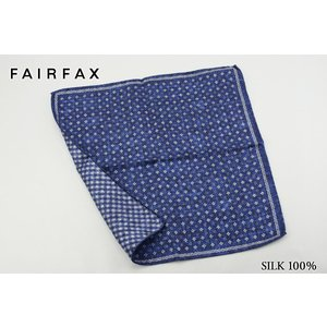 (フェアファクス) FAIRFAX 小紋&格子柄 リバーシブルプリント ポケットチーフ ブルー シル...