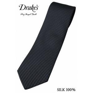 (ドレイクス) DRAKE'S 50オンス ロイヤルツイル ピンドット プリントタイ ネイビー 英国...