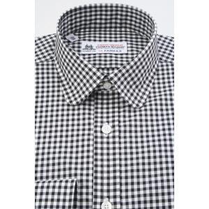 (フェアファクス) FAIRFAX ラウンドカラードレスシャツ ブラック×ホワイトのギンガムチェック 綿100% (細身) 英国 トーマス・メイソン生地使用 windsorknot