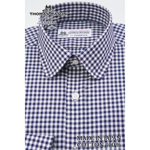 (フェアファクス) FAIRFAX ラウンドカラードレスシャツ ネイビー×ホワイトのギンガムチェック 綿100% (細身) 英国 トーマス・メイソン生地使用 windsorknot