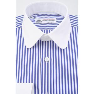 (フェアファクス) FAIRFAX クレリックのラウンドカラードレスシャツ 白×ネイビーのロンドンストライプ 綿100% (細身) 英国 トーマス・メイソン生地使用|windsorknot