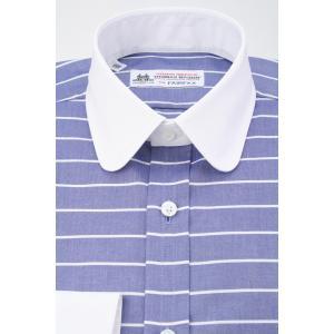 (フェアファクス) FAIRFAX クレリックのラウンドカラードレスシャツ ネイビー地に白のホリゾンタルストライプ 綿100% (細身) 英国 トーマス・メイソン生地使用|windsorknot