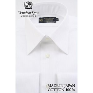 (ウィンザーノットアルバートアベニュー)WindsorknotAlbertAvenue レギュラーカラーダブルカフスシャツ 日本製 綿100%イージーアイロン 白ストライプドビー100双 windsorknot