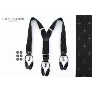 (アルバート・サーストン) ALBERT THURSTONメンズブレイシス (サスペンダー) ブラックベースの小紋ジャカート 英国製 windsorknot