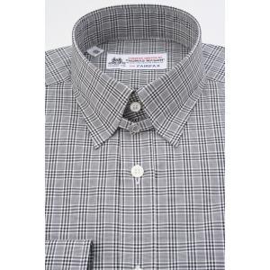 (フェアファクス) FAIRFAX タブカラードレスシャツ ブラック×ホワイトのグレンチェック 綿100% (細身) 英国 トーマス・メイソン生地使用 windsorknot