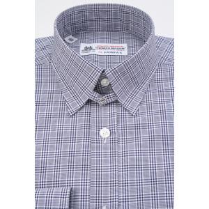 (フェアファクス) FAIRFAX タブカラードレスシャツ ネイビー×ホワイトのグレンチェック 綿100% (細身) 英国 トーマス・メイソン生地使用 windsorknot