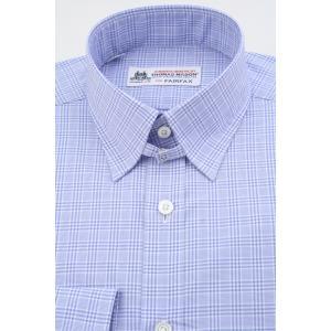 (フェアファクス) FAIRFAX タブカラードレスシャツ サックスブルー×ホワイトのグレンチェック 綿100% (細身) 英国 トーマス・メイソン生地使用 windsorknot
