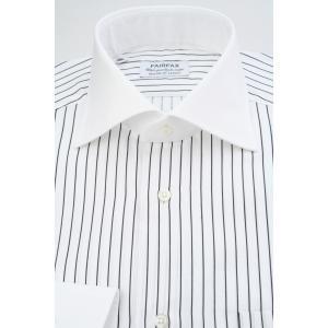 (フェアファクス) FAIRFAX クレリックのワイドスプレッドカラードレスシャツ 白地にブラックストライプ 綿100% 国産生地使用 (細身)|windsorknot