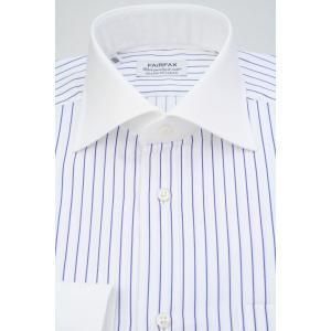 (フェアファクス) FAIRFAX クレリックのワイドスプレッドカラードレスシャツ 白地にブルーのストライプ 綿100% 国産生地使用 (細身)|windsorknot