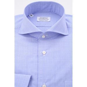(フェアファクス) FAIRFAX ホリゾンタルワイドカラードレスシャツ 白&ブルーのグレンチェック 綿100% 国産生地使用 (細身) windsorknot