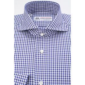 (フェアファクス) FAIRFAX ホリゾンタルワイドカラードレスシャツ ネイビー×ブルー×白のマルチギンガムチェック 綿100% (細身) 英国 トーマス・メイソン生地 windsorknot