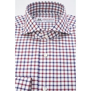 (フェアファクス) FAIRFAX ホリゾンタルワイドカラードレスシャツ ネイビー×ワイン×白のタッターソールチェック 綿100% (細身) 英国 トーマス・メイソン生地 windsorknot