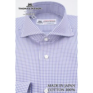 (フェアファクス) FAIRFAX ホリゾンタルワイドカラードレスシャツ ブルー×白のグラフチェック 綿100% (細身) 英国 トーマス・メイソン生地使用 windsorknot