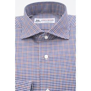 (フェアファクス) FAIRFAX イタリアンスプレッドカラードレスシャツ ネイビー×白×ブラウンのチェック柄 綿100% (細身) 英国 トーマス・メイソン生地使用 windsorknot