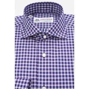 (フェアファクス) FAIRFAX イタリアンスプレッドカラードレスシャツ ネイビー、ワイン 上品なタータンチェック 綿100% (細身) 英国 トーマス・メイソン生地 windsorknot