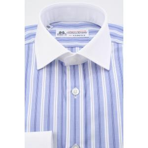 (フェアファクス) FAIRFAX クレリックのイングリッシュスプレッドカラードレスシャツ ブルーのハケメ地ストライプ 綿100% (細身) 英国 トーマス・メイソン生地|windsorknot