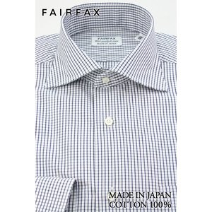 (フェアファクス) FAIRFAX ワイドカラードレスシャツ 形態安定 白地にダークネイビーのグラフチェック 綿100% 国産生地使用 (細身)|windsorknot