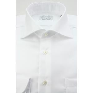 (フェアファクス) FAIRFAX ワイドカラードレスシャツ 形態安定 白無地 綿100% 国産生地使用 (細身)|windsorknot
