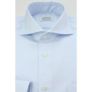 (フェアファクス) FAIRFAX ピンオックスのホリゾンタルワイドカラードレスシャツ ブルー無地 形態安定 綿100% 国産生地使用 (細身)|windsorknot