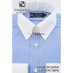 (アルバートアベニュー) Albert Avenue カラーバー付 クレリック ブルー系 ストライプ 綿100% 120双 ツインバレル セミワイド 日本製 (細身) ドレスシャツ|windsorknot