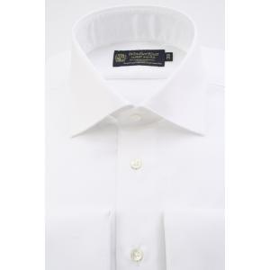 (ウィンザーノットアルバートアベニュー)WindsorknotAlbertAvenue ワイドカラーのダブルカフス ドレスシャツ 日本製 綿100%イージーアイロン 白ツイル 100双 windsorknot