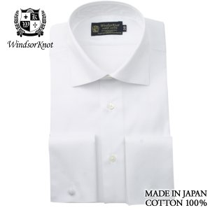 (ウィンザーノットアルバートアベニュー)WindsorknotAlbertAvenue ワイドカラーのダブルカフスドレスシャツ 日本製 綿100% イージーアイロン 白ドビー 100双 windsorknot
