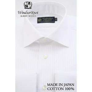 (ウィンザーノットアルバートアベニュー)WindsorknotAlbertAvenue白×白クレリックのダブルカフスワイドカラードレスシャツ 日本製 綿100%イージーアイロン100双|windsorknot